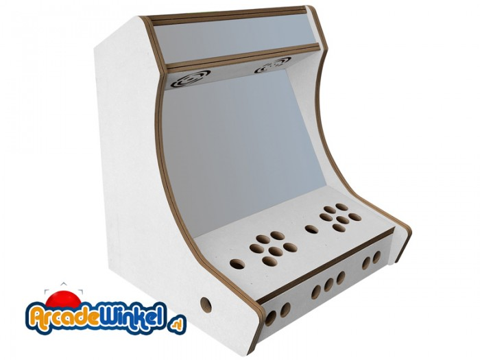 Bartop arcade cabinet flatpack kit - 2 players melamine, white